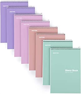 """Mintra Office Steno Books - Pastel 8 Pack, Narrow Ruled Paper, 6"""" x 9"""", 100 Notebooks for Writing Notes in School, University, College, Work, Office"""