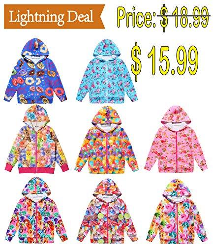Jxstar Little Girls Cat Jacket Coat Long Sleeve Full Zip Hoodie Outwear Pocket by Jxstar (Image #5)