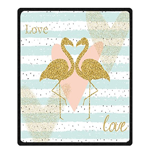 Warm Heart Pattern - Manerly Gold Glitter Flamingo and Gifferent Hearts Pattern Throw Blanket Super Soft Warm Bed Couch Blanket 60x80 Inch