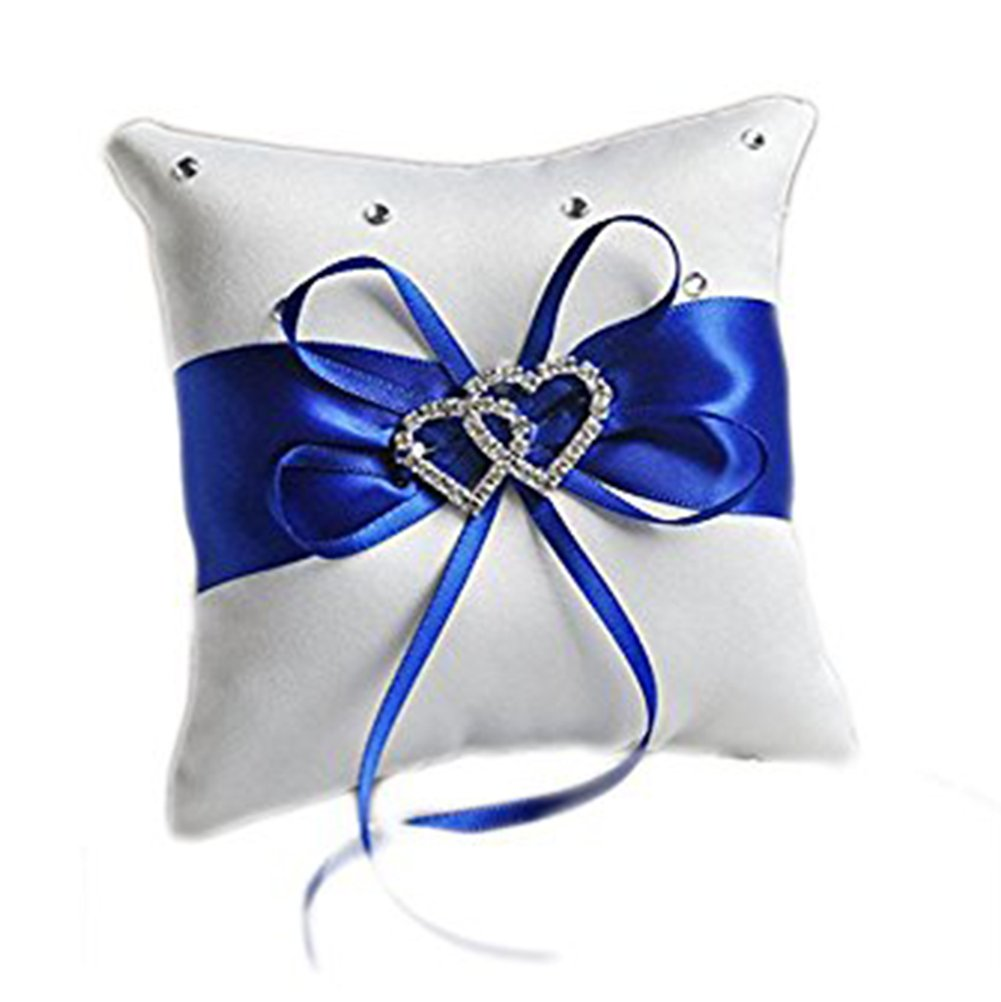 Hosaire Ring Bearer Pillow 4 x 4 inches Bow Rhinestone Double Heart Ring Pillow Wedding Decoration Blue