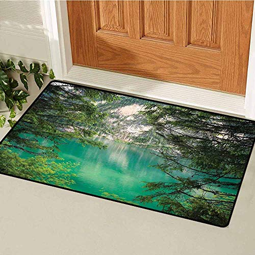 Landscape Inlet Outdoor Door mat Mountain Lake Lago di Braies in Italy Mountain View with Fresh Pine Trees Catch dust Snow and mud W29.5 x L39.4 Inch Teal Green Ivory