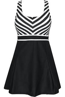 7407bb9d66223 DANIFY Women's One Piece Sailor Striped Swimsuit Plus Size Swimwear Cover  up Swimdress