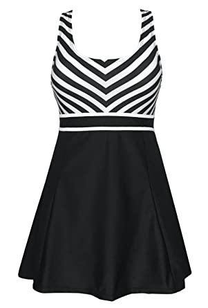 b7986567f7 DANIFY Women's One Piece Sailor Striped Swimsuit Plus Size Swimwear Cover  up Swimdress at Amazon Women's Clothing store:
