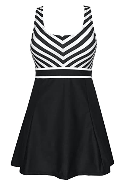 e5ccc4d9061 DANIFY Women s One Piece Sailor Striped Swimsuit Plus Size Swimwear Cover up  Swimdress Black