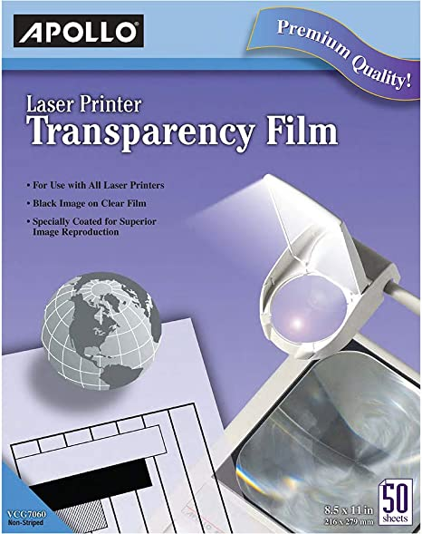 * Transparency Film for Laser Printers Letter Clear 50/Box * Inks, Toners & Cartridges at amazon