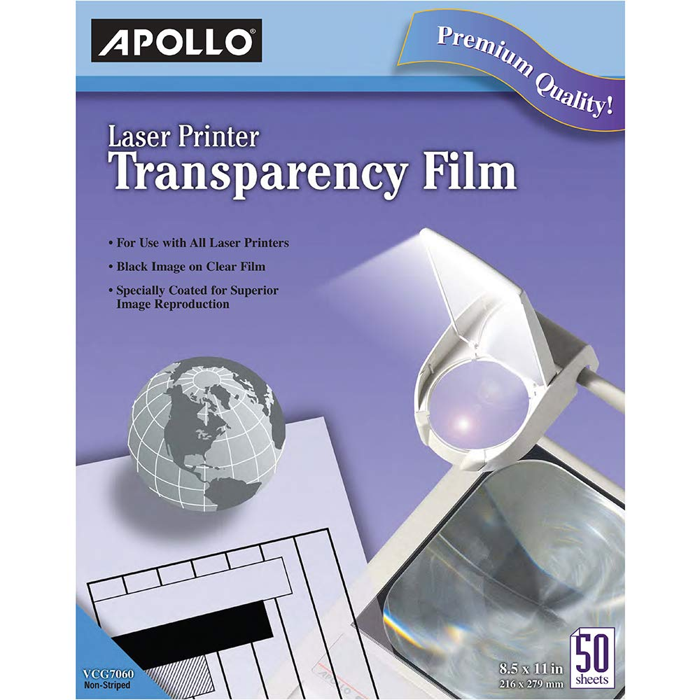 Apollo Transparency Film for Laser Printers, Black on Clear, 50 Sheets/Pack (CG7060)