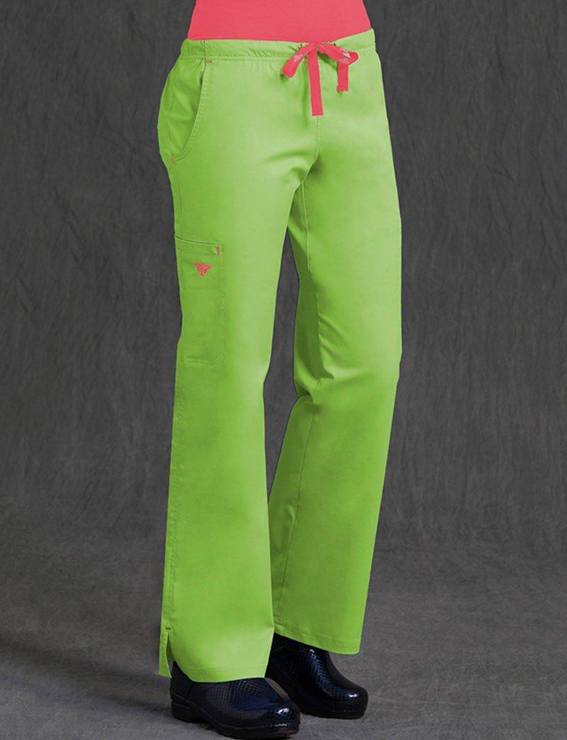 Med Couture Women's Gigi Boot Leg Scrub Pant, Keylime/Apricot, Small