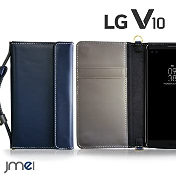 e11b685884 LG V10 ケース 本革 JMEIオリジナルレザー手帳ケース CHARON ネイビー LG エレクトロニクス v10 sim