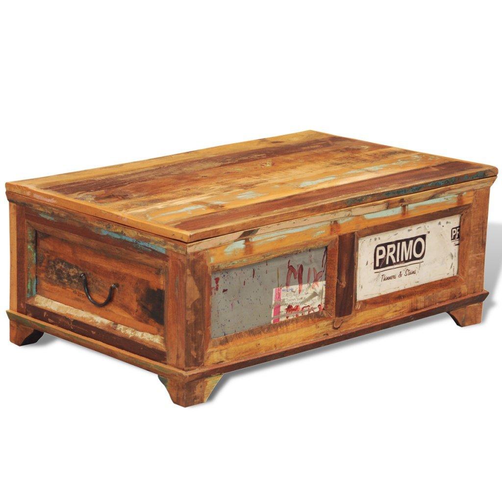 Anself - Mesita de café de madera reciclada con cajones, estilo vintage, 85 x 50 x 35cm