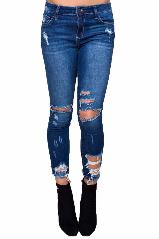 MISSugar Women Denim Ripped Holes Elastic High Waist Slim Fit Casual Skinny Jeans Sexy Pencil Trousers (M)