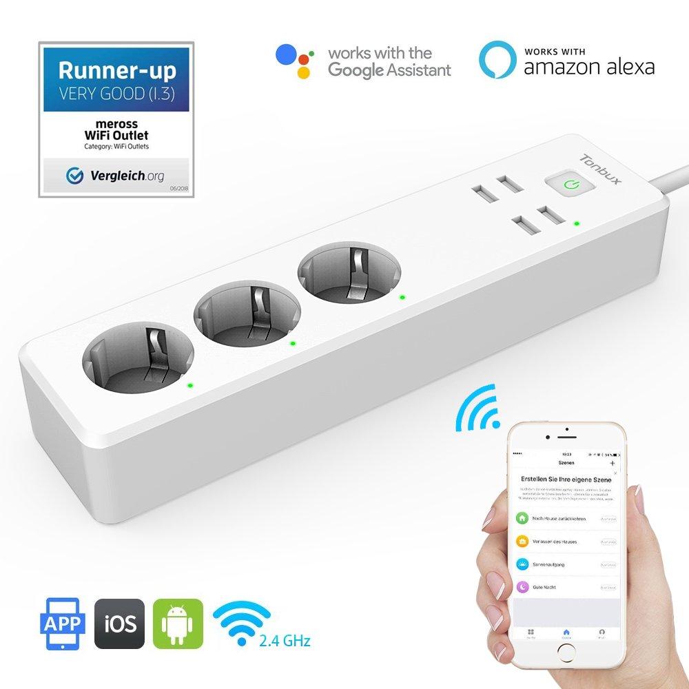 TONBUX Smart Steckdosenleiste Alexa mit Ü berspannungsschutz 3 AC-Ausgä nge 4 USB-Anschlü sse Kompatibel mit  Alexa [Echo, Echo Dot] Google Home IFTTT mit App Fernsteuerung fü r iOS und Android