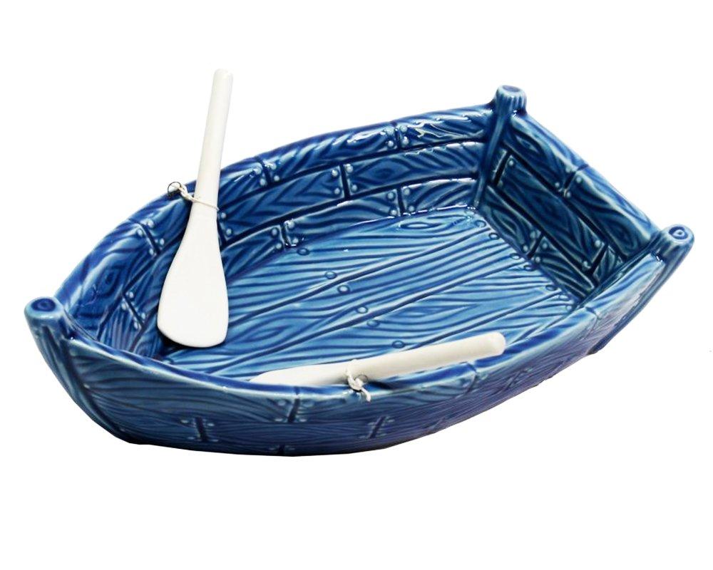 Zelda Bomboniere Svuotatasche Barca Mare Ceramica Blu CM21, 3X13XH.7 Decorazione Arredo