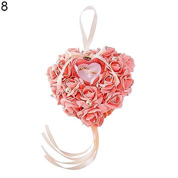 Joyero con forma de corazón para anillos de boda, joyas, anillos de matrimonio, caja de regalo creativa de simulación de flores talla única Rose Red: ...