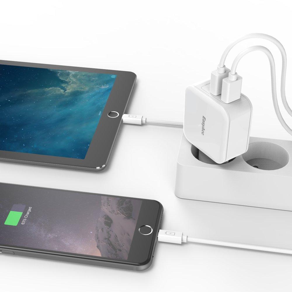 EasyAcc Cargador de Pared con 2 Puertos USB 5V 2.4A x 2 USB Adaptador de Corriente 24W Carga R/ápida Enchufe Europeo Blanco