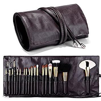 Amazon.com   Travelmall Makeup brush rolling case pouch holder Cosmetic bag  organizer Travel portable 18 pockets Cosmetics Brushes Brown leather case  by ... ebd75a7698a4e