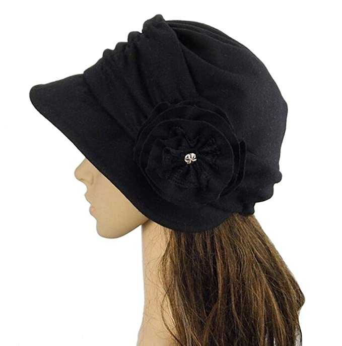 Edwardian Hats, Titanic Hats, Tea Party Hats Wool Blend Foldable Cloche Bucket Winter Hat with Flower Accent $10.68 AT vintagedancer.com
