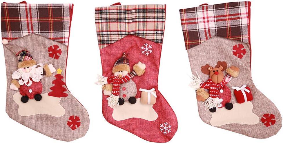 Kesote 3 Calcetines de Navidad con Marioneta 3D Calcetín de Regalo con Santa, Muñeco de Nieve y Renos Calcetines Decorativos para Hhogar, 44 x 23 cm