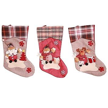 Kesote 3 Calcetines de Navidad con Marioneta 3D Calcetín de Regalo con Santa, Muñeco de Nieve y Renos Calcetines Decorativos para Hhogar, ...