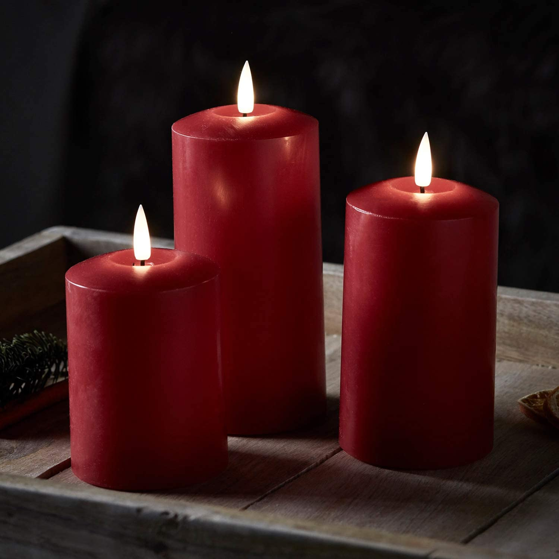 Lights4fun Lot de 3 Bougies Piliers TruGlow/® Effet Marbre /à LED Blanc Chaud T/él/écommand/ées