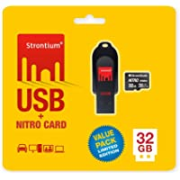 Strontium 32GB USB and 32GB Nitro MicroSD 85MBPS- Pack of 2