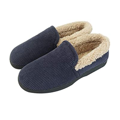 WEB&MORDEN Men's Corduroy Moccasin Slippers with Comfort Plush Lining Outdoor House Shoes with Non-Slip Rubber Sole | Slippers