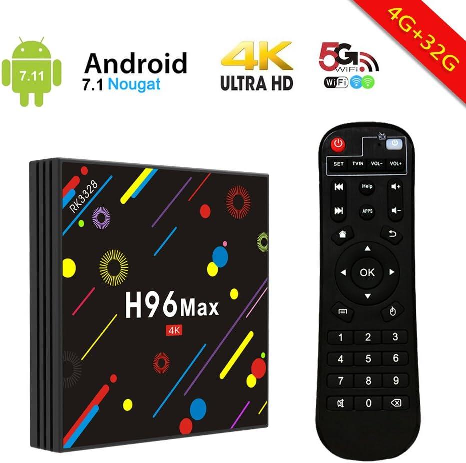 2018 Versión] H96 Max Smart TV Box Android 7.1 4GB RAM 32GB ROM ...