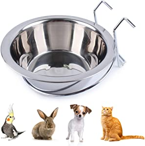 Wontee Pet Bowl Stainless Steel Hanging Food Water Cup Feeder with Hook Detachable for Dogs Cats Kennel, Bird Parrot Rabbit Cage
