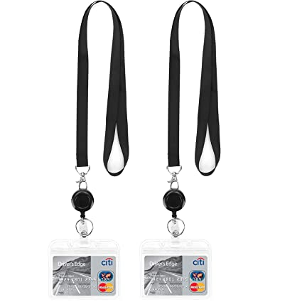 Retractable Lanyard with id Badge Holder Horizontal Retractable Badges Reel  Clip for Card Holders Punched Zipper Waterproof with Lanyards Pack of 2