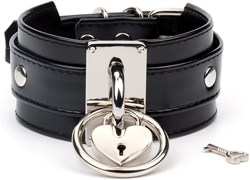 Handmade Silver Heart Padlock O Ring Thick Leather Choker Collar Necklace Black