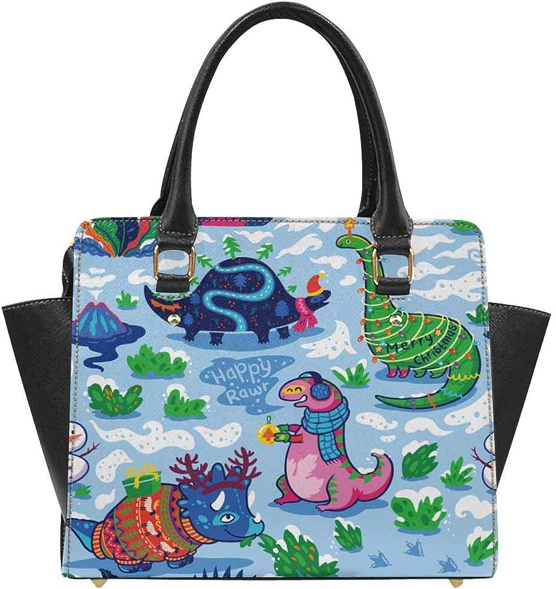 INTERESTPRINT Cute Cartoon Dolphin and Beluga Crossbody Satchel Bag Tote Shoulder Handbags
