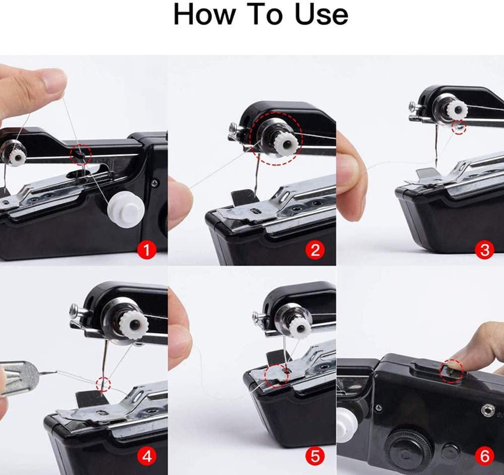 Cordless Handheld Electric Sewing Machine White Sewing Fabric Clothing Kids Cloth Pet Clothes eoocvt Portable Handheld Sewing Machine