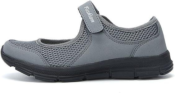 LANSKIRT Zapatillas Running de Mujer Sin Cordones Zapatos de Verano 2019 Velcro Moda Sandalias de Antideslizantes Zapatillas Deportivas para Correr Calzado Comodo Transpirables (Gris Oscuro, 34 EU): Amazon.es: Zapatos y complementos