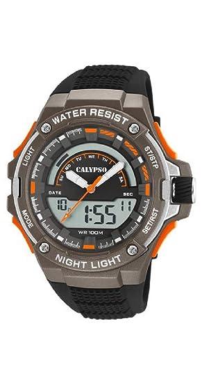 Calypso - Reloj de Pulsera de Cuarzo - para Hombre, Correa de Goma, Negro