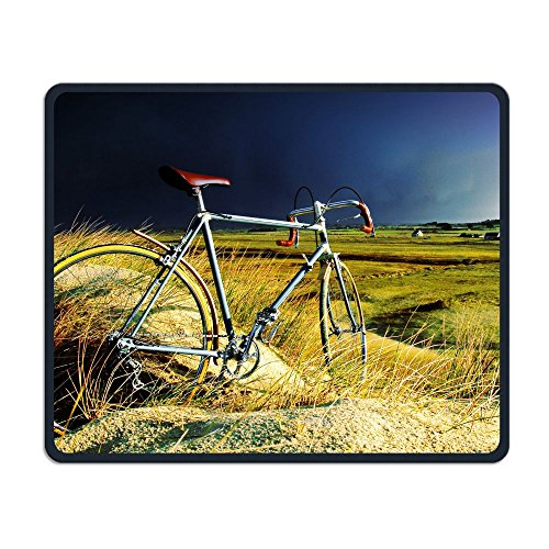Mouse Pad Bicycle In The Storm Rectangle Rubber Mousepad Length 8.66 Width 7.09 Inch Gaming Mouse Pad With Black Lock -