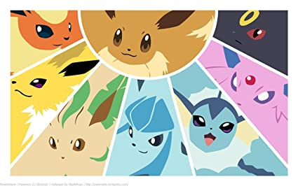 Pokemon Eevee Evolution Playmat Free RFG Small Sized Sleeves 75 Count
