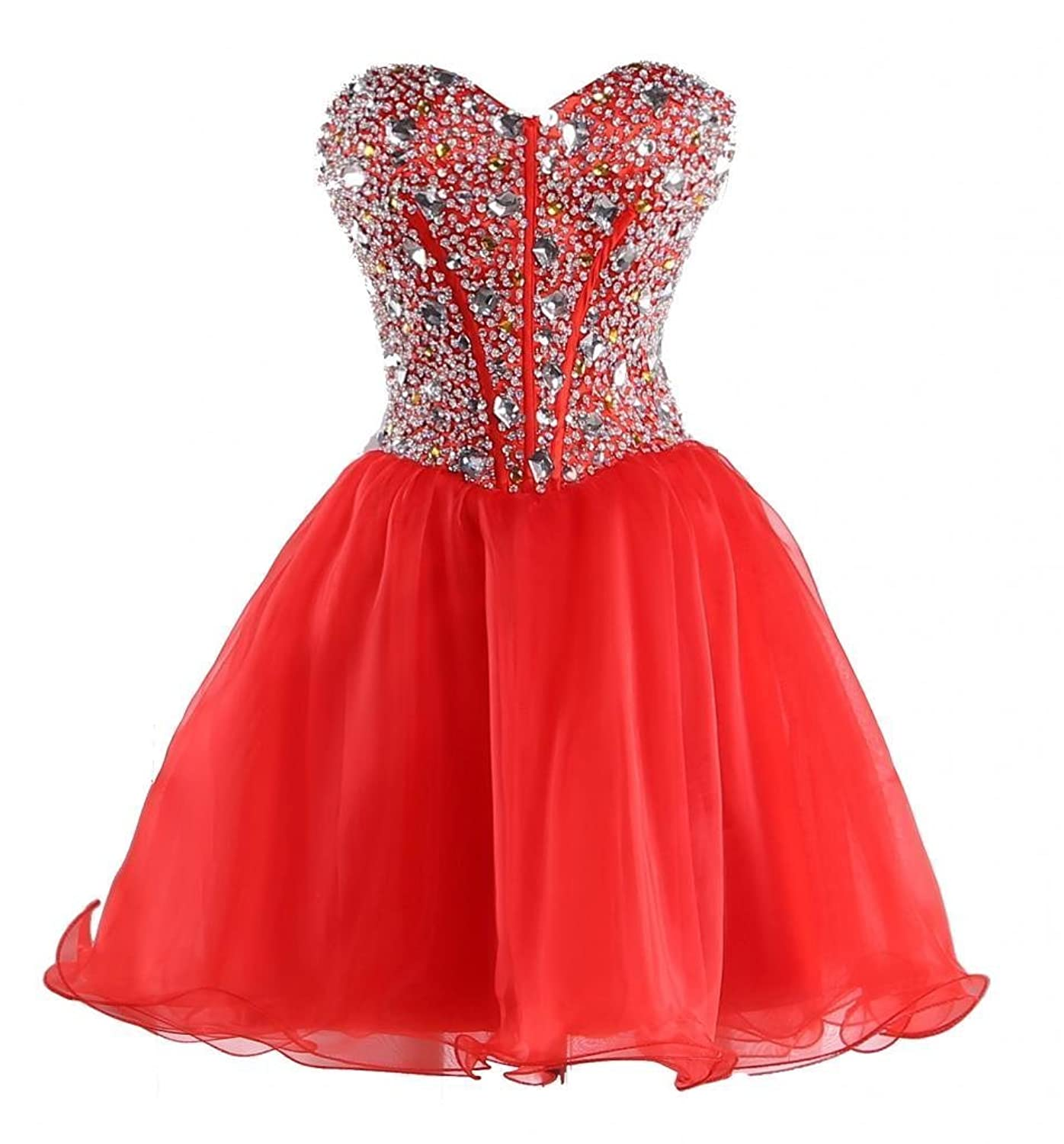 FNKS Women's Sweetheart Rhinestone Sequined Organza Short Homecoming Prom Dresses