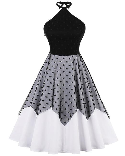 ZAFUL Mujer Vintage Vestido de Fiesta Cuello Halter Tallas Grandes Negro S