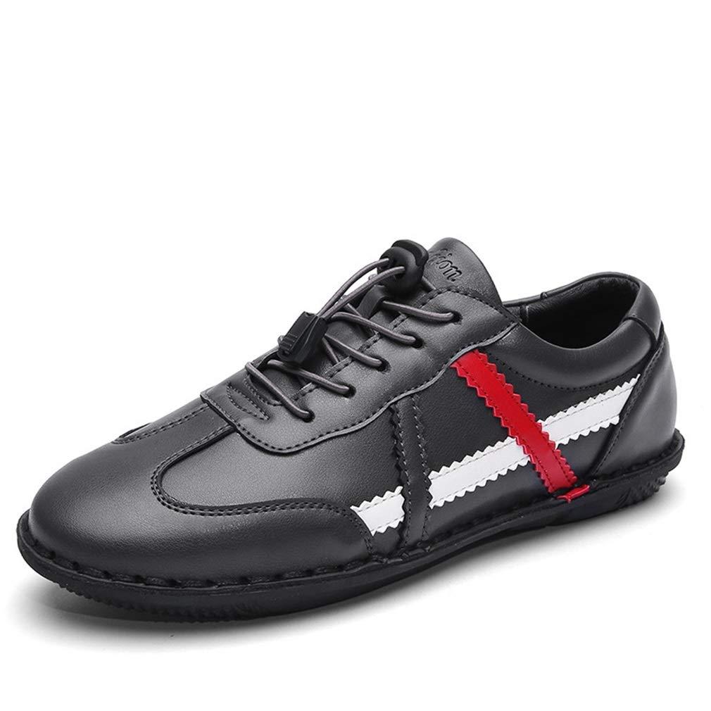 YAN Herrenschuhe Herbst Turnschuhe, Mikrofaser Loafer Lace up Fitness & Cross Training Freizeitschuhe schwarz/grau (Farbe : Grau, Größe : 39)