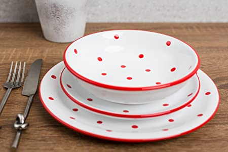 City to Cottage White And Red Handmade Hand Painted Ceramic 12 piece Tableware Set | Polka : spotty dinner plates - pezcame.com