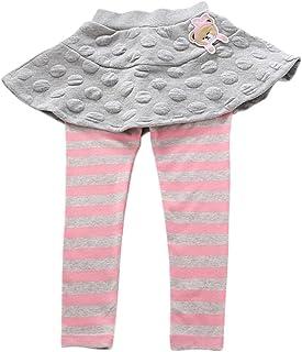 Tortor 1bacha Kid Little Girls' Stripe Leggings with Flared Skirt