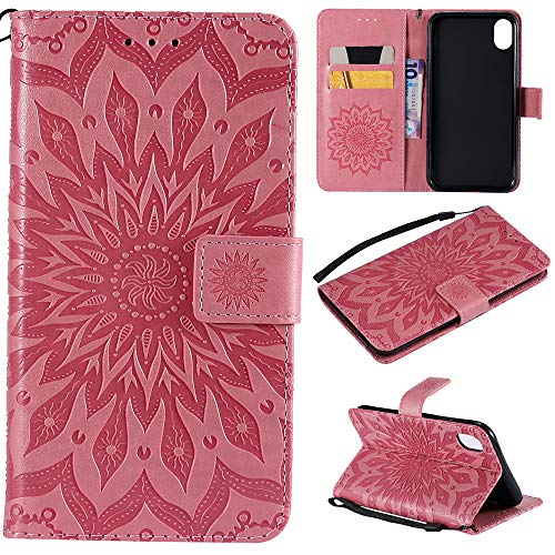 iPhone XR Case 6.1 inch, Wallet Flip Folio Case Kickstand Card Slots Wrist String Embossed Sunflower PU Leather Wallet Case Shockproof Soft TPU Rubber Bumper Slim Wallet Case for iPhone XR, Pink