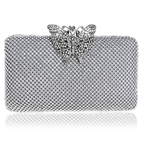 Dress Wristlets Butterfly Bags For Decoration Wedding Chain Silver Cocktail Bag Women's Body Cross Engagement For Bag Rhinestone Clutches Evening Lady Parties IxSzFw