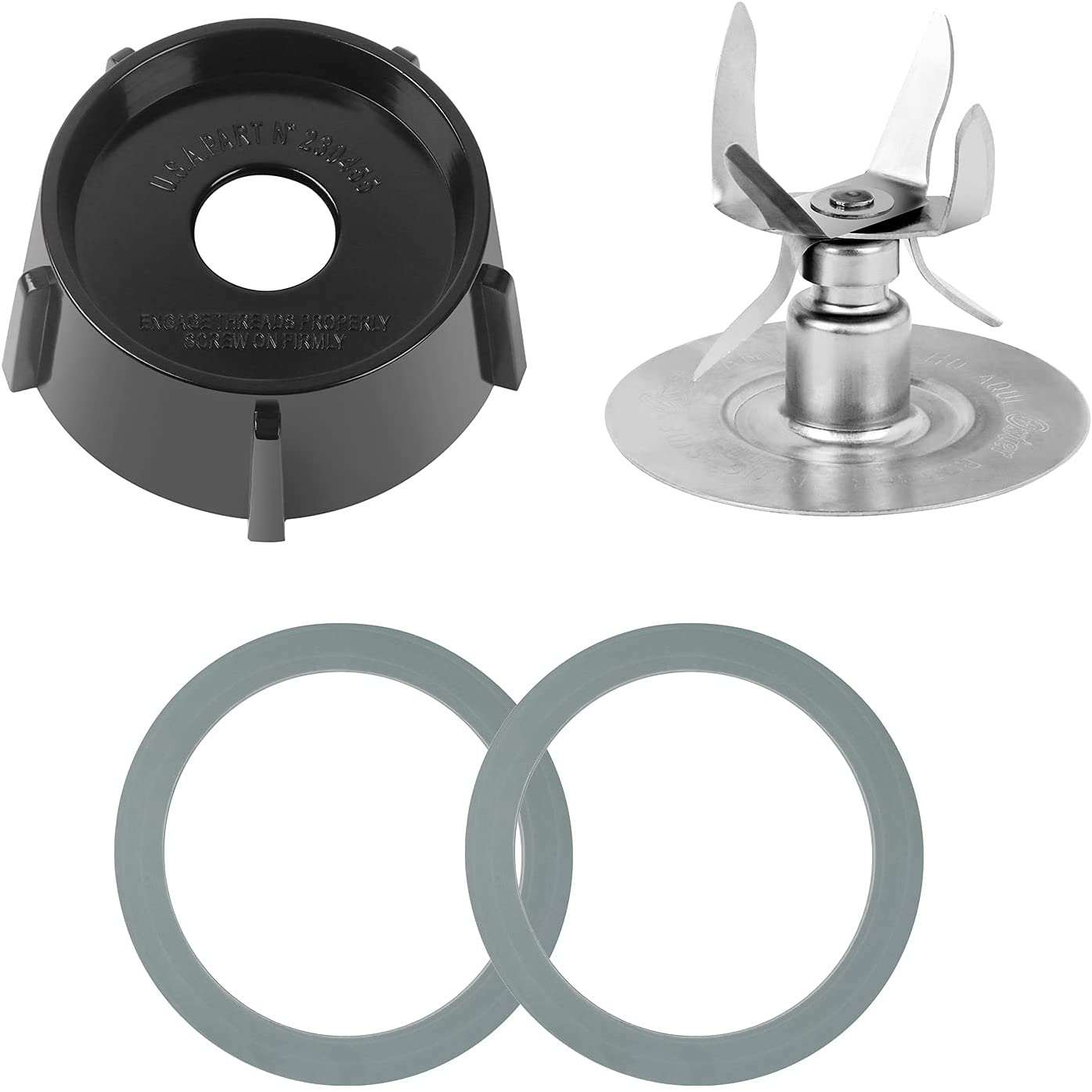 Replacement Parts For Oster Osterizer Blender Blades with 4902 Blender Jar Bottom & 6 Point Fusion Blade 4980 & 2 Pcs O Ring Rubber Seal Gasket