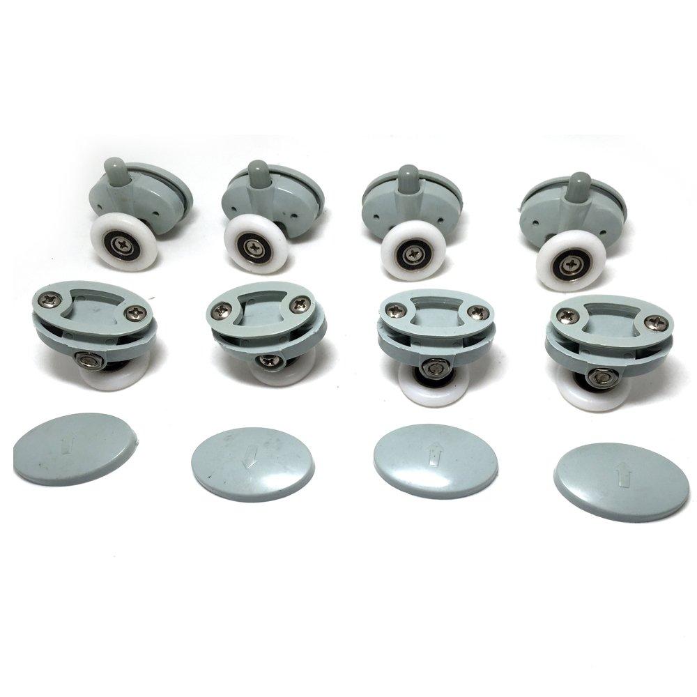 4x Top &4x Bottom Single Shower Door ROLLERS /Runners /Wheels 23mm in Diameter CY-301AB-3