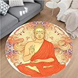 Nalahome Modern Flannel Microfiber Non-Slip Machine Washable Round Area Rug-ation Aura Thai Temple Ornamental Motive Spiritual Design Print Accessories Orange Purple area rugs Home Decor-Round 67''