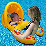 Inflatable Baby Swim Float Toy - Happytime 2018 Swimming Ring Kid's Chair Seat with Sunshade for Baby and Mom