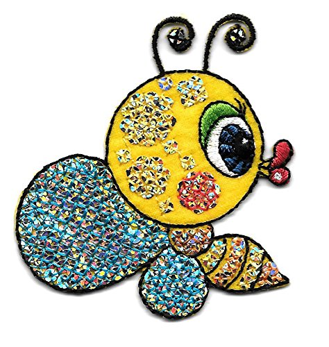 Bumble Embroidered Bee (Bumblebee W/lips ~ Sequin/embroidered Iron on Applique Cool Patch Iron On)