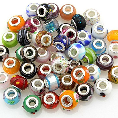 Mix Murano Glass Beads Fit European Charm Bracelet Silver Color Spacer by eART 100 pcs