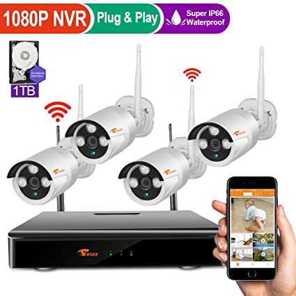 [4CH 1080P DVR] CORSEE HD Wireless Security Camera System with 4 x 720P Waterproof