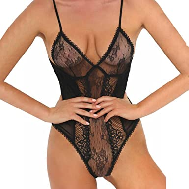 Newest Sexy Underwear Sexy Net Yarn Pajamas Suit Lace Conjoined Perspective Lace Dress Sexy Costumes Women's Exotic Apparel